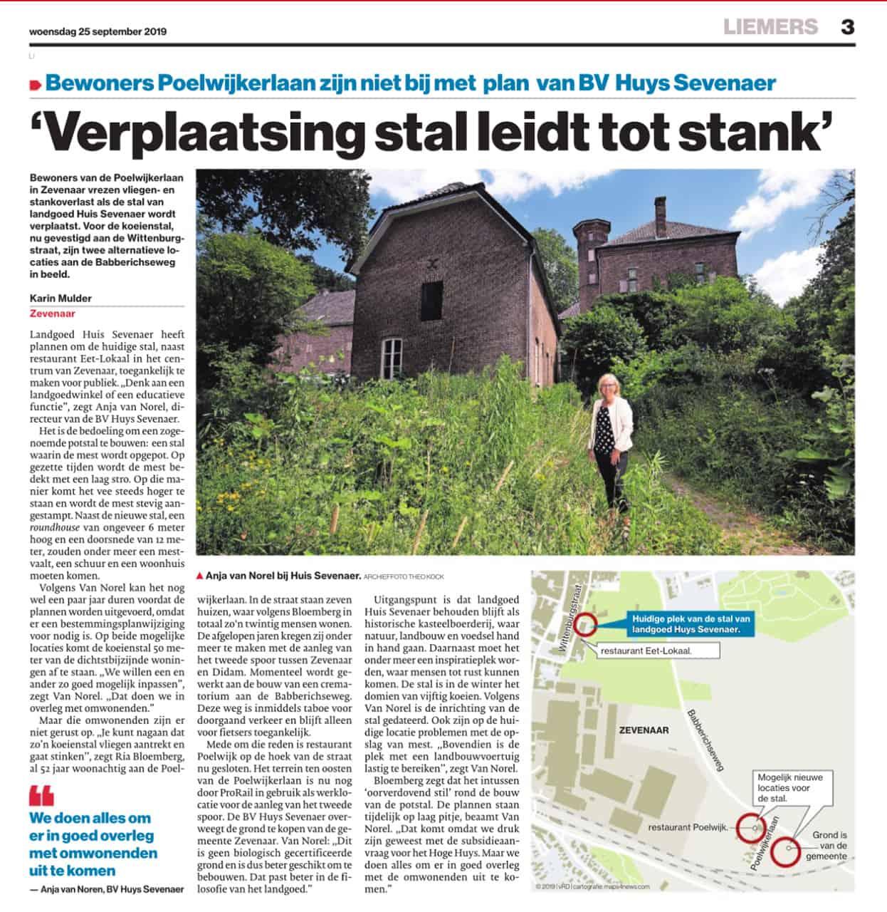 Artikel Gelderlander verplaasten stal